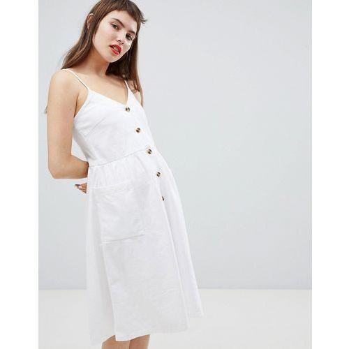 Monki pocket front midi sun dress - white