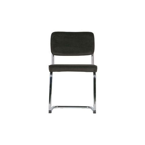 Woood Krzesło set of 2 aksamitne z metalową ramą ciemnobrązowe 373584-B, kolor brązowy