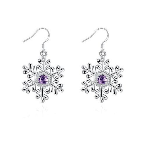 Artificial Amethyst Snowflake Christmas Earrings
