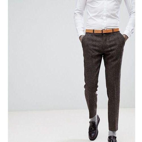 Heart & Dagger Skinny Suit Trouser In Harris Tweed In Herringbone - Brown