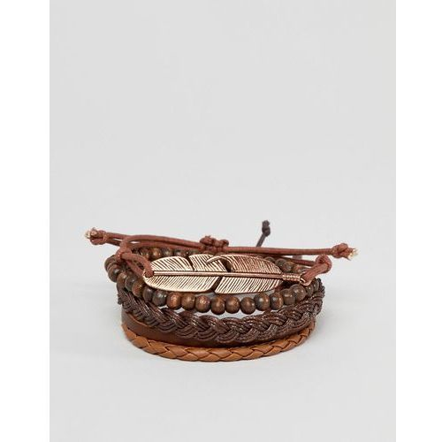 design bracelet pack in brown with rose gold feather - brown marki Asos