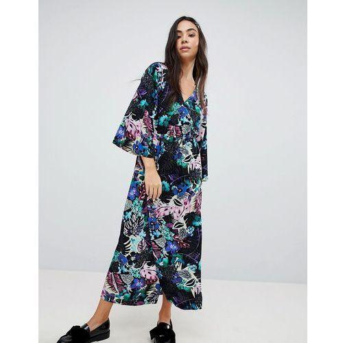 Monki Tropical Floral Print Wrap Midi Dress - Multi, w 3 rozmiarach