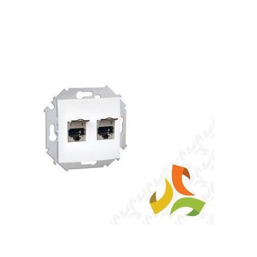 Simon kontakt Gniazdo komputerowe podwójne rj45 ekranowane kategoria 5e, białe z przesłonami przeciwkurzową 1591554-030 simon 15