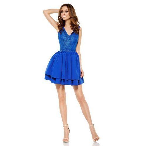 Chabrowa Wieczorowa Sukienka z Koronką z Rozkloszowanym Dołem, kolor niebieski