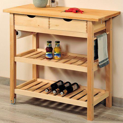 Kesper Praktyczny i elegancki barek na kółkach z drewna bukowego, drewniany barek kuchenny, wózek kuchenny na kółkach,