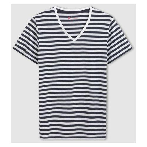 T-shirt w paski, z dekoltem w kształcie V i krótkim rękawem