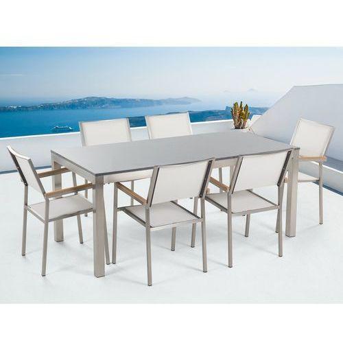 Meble ogrodowe - stół granitowy - cała płyta - 180 cm szary polerowany z 6 białymi krzesłami - GROSSETO (4260580923885)
