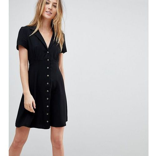 ASOS TALL Button Through Mini Skater Dress - Black