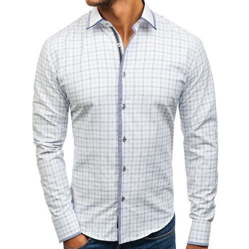Bolf Koszula męska w kratę z długim rękawem biało-niebieska 8812