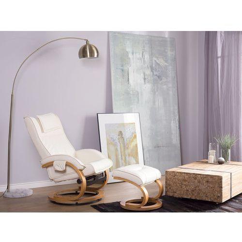 Krzesło biurowe beżowe z podnóżkiem skóra ekologiczna funkcja masażu majestic marki Beliani