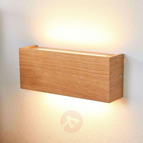 Ściemniany kinkiet LED Mila, drewno dębowe, 25 cm