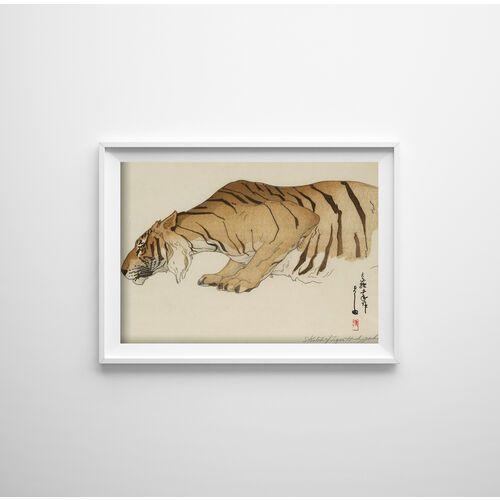 Plakat w stylu vintage plakat w stylu vintage szkic tygrysa autorstwa yoshidy hiroshi marki Vintageposteria.pl