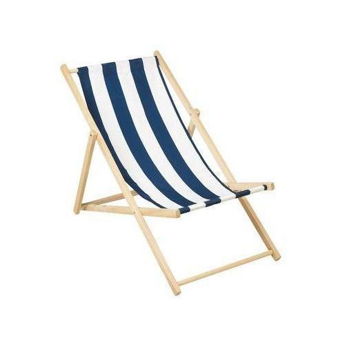 Leżak plażowy drewniany biało-niebieski marki Ołer