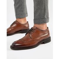 Selected Homme Leather Brogue Shoe - Brown