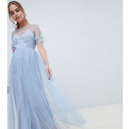 Asos design petite bridesmaid lace and dobby mesh overlay maxi dress - green, Asos petite