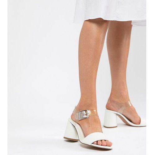 ASOS DESIGN Humming Bird Wide Fit Mid Block Heeled Sandals - White