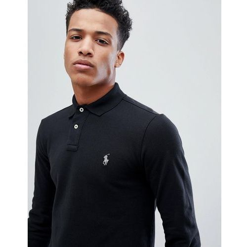 Polo Ralph Lauren Pique Polo Long Sleeve Slim Fit in Black - Black