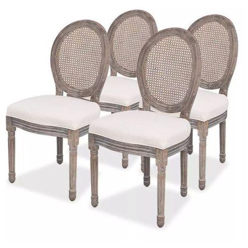 Krzesła do jadalni, len i rattan, 4 szt.