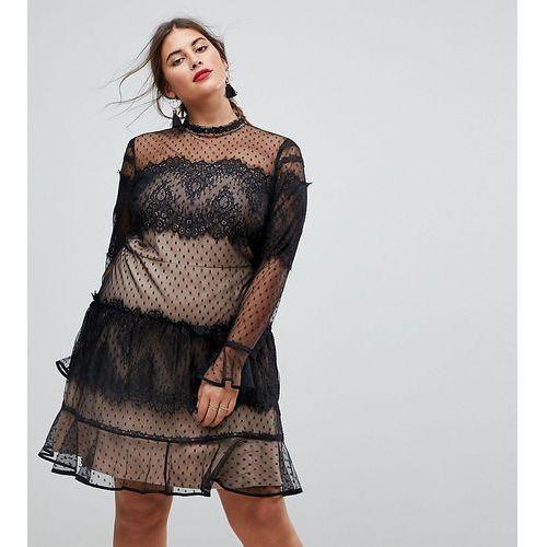 ASOS CURVE Lace Dobby Patchwork Long Sleeve Mini Dress - Black, kolor czarny