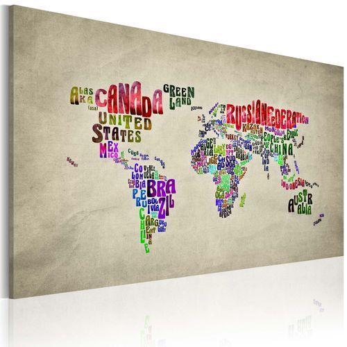 Obraz - Mapa świata - nazwy państw w języku angielskim