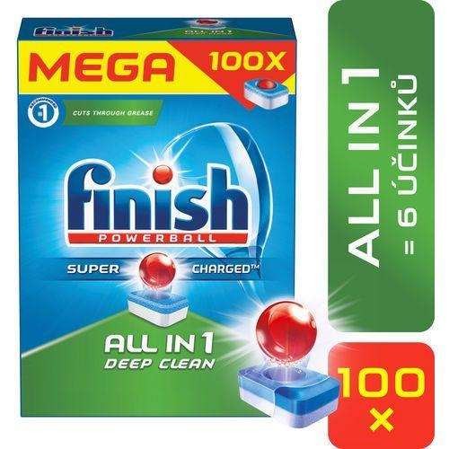 Zestaw 5x 100szt powerball all in 1 tabletki do zmywarki marki Finish