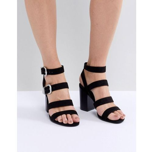 multi strap western buckle block heel sandal - black marki New look