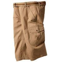 Spodnie 3/4 z paskiem Loose Fit bonprix matowa wielbłądzia wełna, bawełna