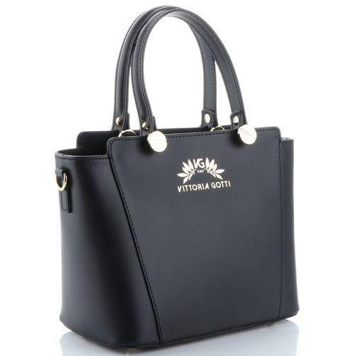 Vittoria gotti klasyczne torebki skórzane elegancki włoski kuferek wykonany w całości ze skóry naturalnej czarne
