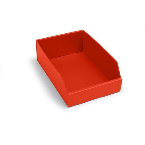 Skrzynki regałowe z tworzywa, składane, dł. x szer. x wys. 300x200x100 mm, czerw marki K bins limited