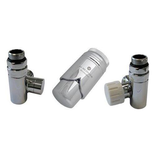 Zestaw zaworów Schlosser przystosowany do montażu grzałki elektrycznej Chrom prawy Rodzaj złączki: Pex 16x2