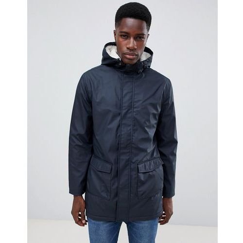 fishtail hooded parka with borg lining - navy marki French connection