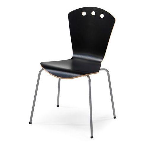 Stylowe czarne krzesło ze stelażem w kolorze aluminium, kolor czarny