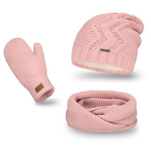 Komplet , czapka, komin, rękawiczki - pudrowy róż - pudrowy róż marki Pamami