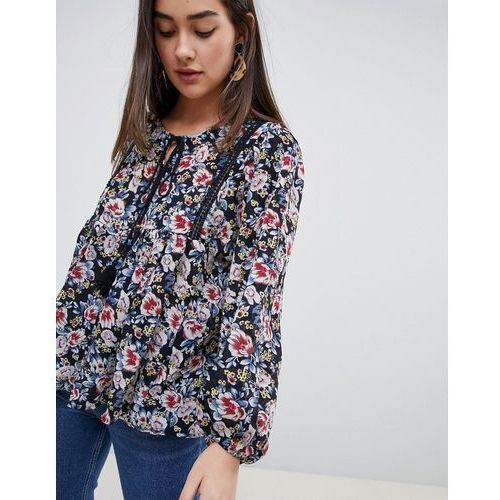floral smock top with tassle - navy, Qed london