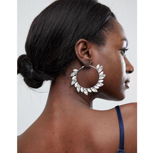 True Decadence Blush Embellished Hoop Earrings - Silver