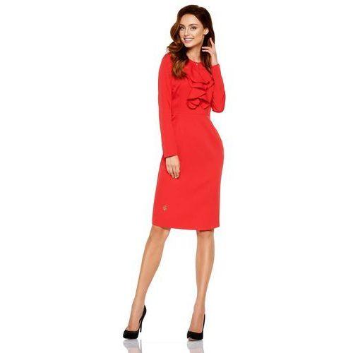 77afb7351d Czerwona Elegancka Wizytowa Sukienka z Żabotem