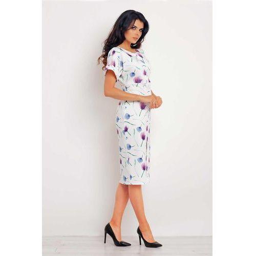Infinite you Fioletowa sukienka midi z krótkim rękawem we wzory
