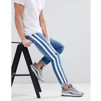 boohooMAN Skinny Jeans With Stripe Print In Blue Wash - Blue, kolor niebieski