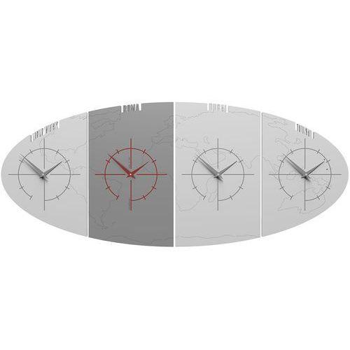 Zegar ze strefami czasowymi do biura Sydney CalleaDesign biały / szary (12-004-1)