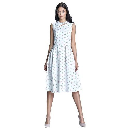 Sukienka midi - ecru/róż - S73, kolor beżowy