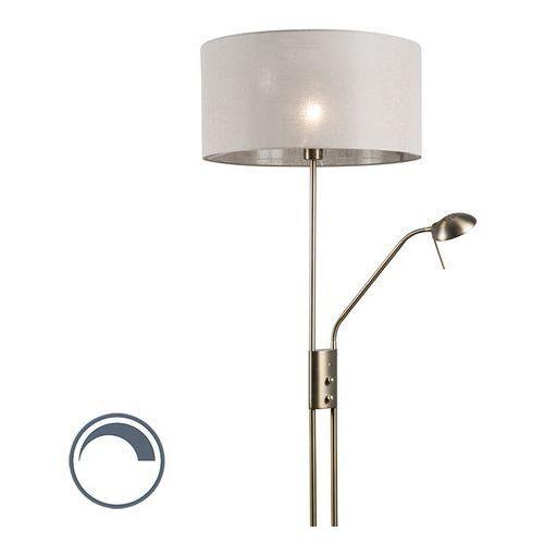 Qazqa Lampa podłogowa luxor brąz klosz 50cm szarobrązowy