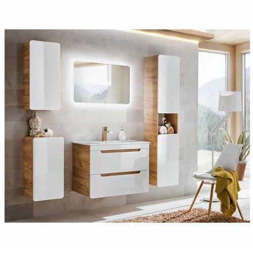 Zestaw podwieszanych mebli łazienkowych Borneo 3Q 80 cm - Biały połysk