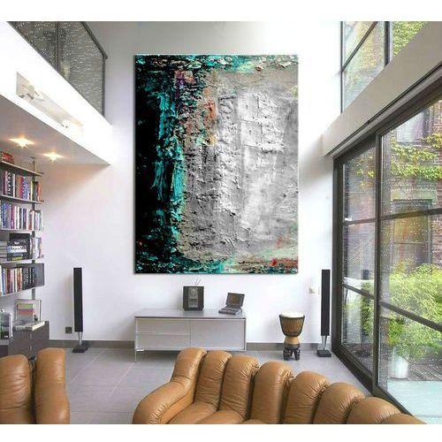 Turkusowo szara abstrakcja - Modny obraz na ścianę | obrazy do salonu