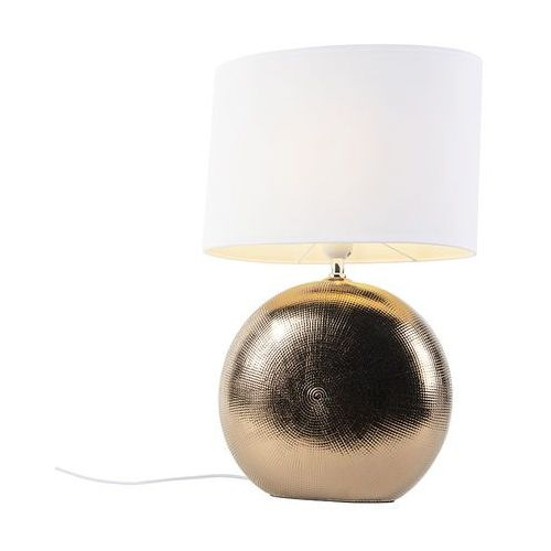 Honsel Romantyczna lampa stołowa miedziana z białym abażurem 34 cm - cleo