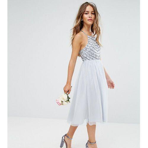 ASOS DESIGN Petite Bridesmaid delicate beaded strappy back midi dress - Grey