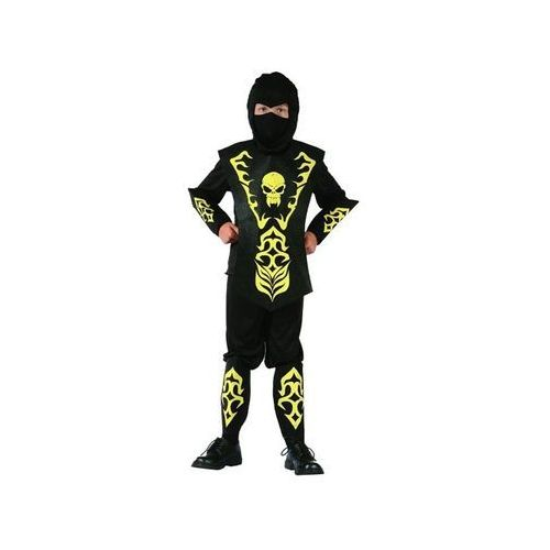 Kostium Ninja żółty z czaszką - S - 110/120 cm, kolor żółty