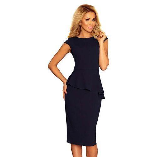 6bd180ec1a Suknie i sukienki · Granatowa Elegancka Ołówkowa Sukienka Midi z  Asymetryczną Baskinką