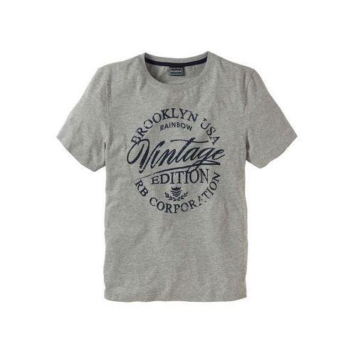 Bonprix T-shirt slim fit jasnoszary melanż