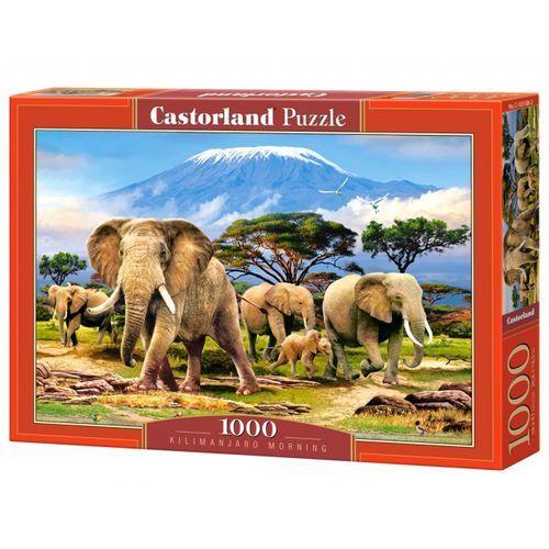 Castor Land, puzzle słonie na tle kilimandżaro (5904438103188)