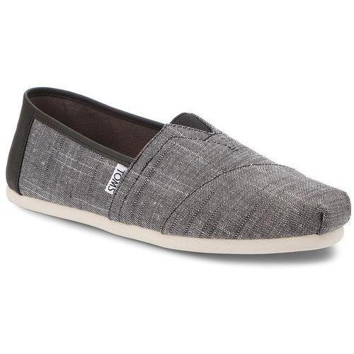 Półbuty - classic 10011577 black textured chambray/trim marki Toms